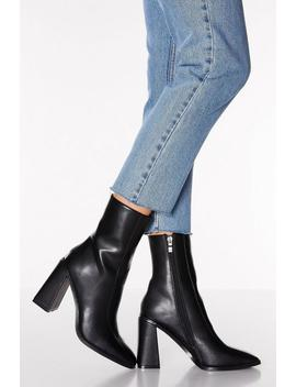 Black Square Toe Flare Heel Ankle Boots by Quiz