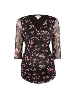 **Maternity Black Floral Print Mesh Top by Dorothy Perkins