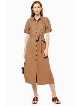 Camel Midi Shirt Dress by Topshop