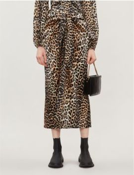 Leopard Print Silk Blend Midi Skirt by Ganni