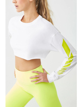 Active Striped Sleeve Crop Top by Forever 21