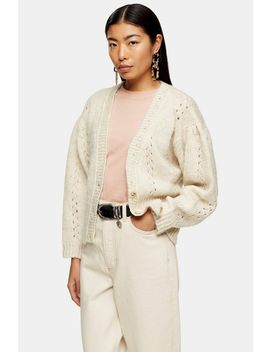 Knitted Pointelle Cardigan by Topshop