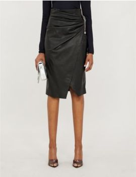 Cagliare High Waist Faux Leather Skirt by Pinko