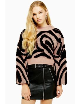 Knitted Wave Pattern Jumper by Topshop