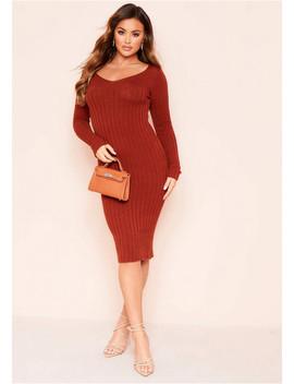 Makayla Rust Rib Knitted Midi Dress by Missy Empire