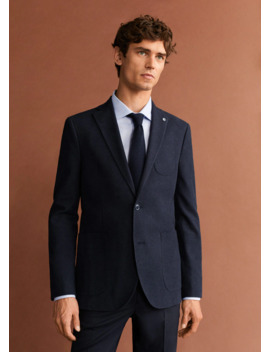 textured-slim-fit-blazer by mango