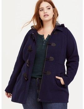 Navy Fleece Hooded Toggle Coat by Torrid