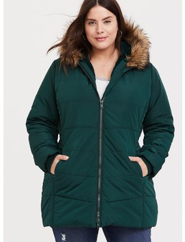 Green Faux Fur Trim Hooded Fit & Flare Puffer Coat by Torrid