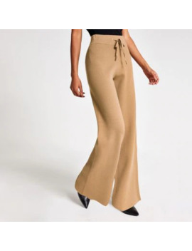 Brown Knitted Straight Leg Trousers by River Island