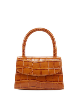 Mini Croc Embossed Leather Top Handle Bag, Tan by By Far