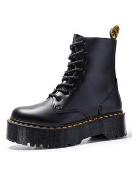 Size34 41 Chunky Motorcycle Boots For Women Autumn 2019 Fashion Round Toe Lace Up Combat Boots Ladies Shoes by Ali Express.Com