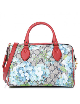 Gucci Gg Supreme Monogram Blooms Small Top Handle Boston Bag Blue by Gucci