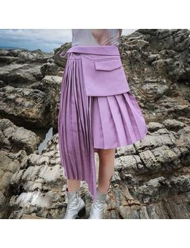 Ultra Modern   Accordion Pleat Asymmetrical Skirt by Ultra Modern
