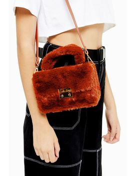Fizz Orange Faux Fur Box Grab Bag by Topshop