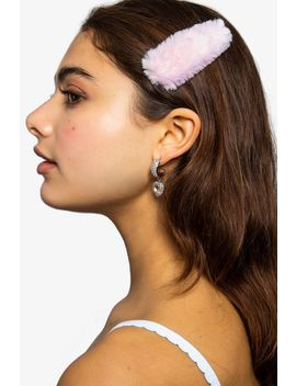 **Pastel Pink Faux Fur Hair Slide Clips by Topshop