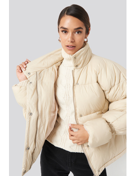 Elastic Detail Puffer Jacket Beige by Na Kd Trend