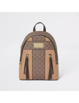 Beige Ri Monogram Zip Front Backpack by River Island