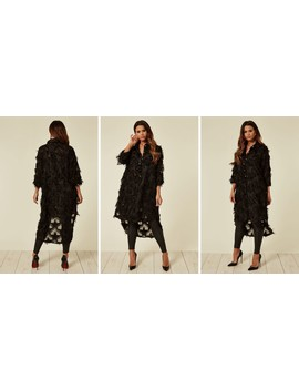 Black Oversized Shirt Dress With Feather Tassel Look Embroidery by Cy Boutique