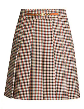 Pleated Check Mini Skirt by Tory Burch