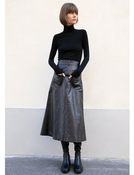 Back To Front Flare Leather Skirt By A.W.A.K.E Mode In Black by The Frankie Shop