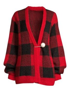 Blake Oversized Plaid Faux Pearl Cardigan Sweater by Mother Of Pearl