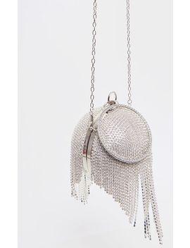 Silver Diamante Tassel Ball Clutch by Prettylittlething