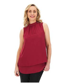 High Neck Double Layer Top by Fashion World
