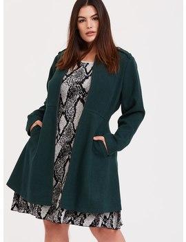 Green Herringbone Woolen Fit & Flare Coat by Torrid