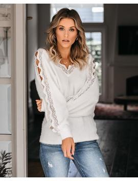 The Snuggle Is Real Lace Sweater   Off White by Vici