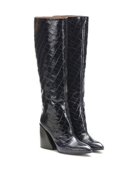 Wave Croc Effect Leather Boots by Chloé