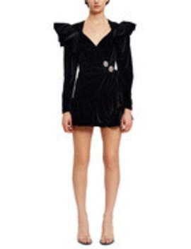 Velvet Ruffle Wrap Dress by Attico