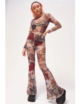 Newspaper Print Mesh Flared Leg Catsuit by Jaded London