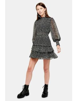 Animal Print Ruffle Shirred Mini Dress by Topshop