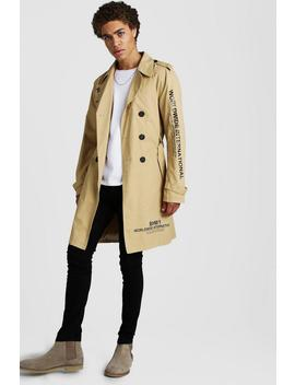 Trench Coat With Print Detail by Boohoo