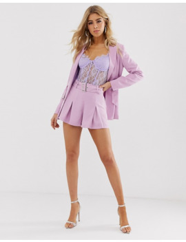 Missguided   Blazer Avec Ceinture   Lilas   Exclusivité (Ensemble) by Missguided