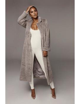 Grey Oana Soft Long Coat by Jluxlabel