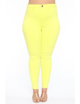 Eva Super Soft Curvy Skinny Jean   Yellow by Fashion Nova