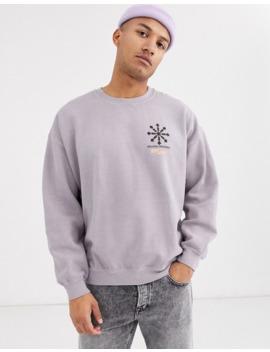 Topman – Sweatshirt In Lila Mit Print Auf Der Rückseite by Asos