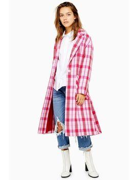 Petite Side Split Check Coat by Topshop
