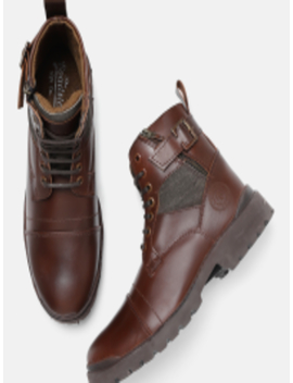 Men Brown Solid Leather Mid Top Flat Boots by Roadster