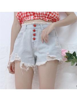 2018 New Women Denim Shorts Harajuku Hole Shorts Strawberry Button Denim Short High Waist Shorts Female #6213 by Ali Express.Com