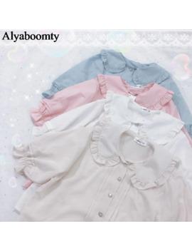 Japanese Summer Women Lolita Style Blouse Peter Pan Collar White Apricot Pink Blue Female Blusas Cute Kawaii Ruffles Girl's Top by Ali Express.Com