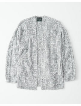 Puffed Sleeve Cable Cardigan by Abercrombie & Fitch