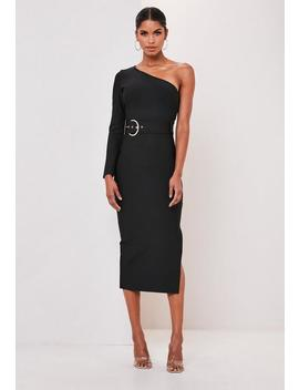 Premium Black One Shoulder Belted Bandage Midi Dress by Missguided