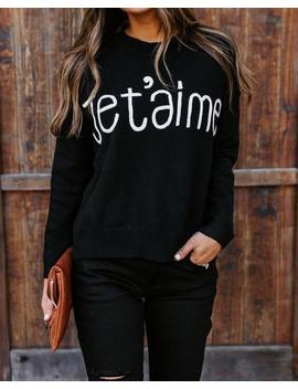Embroidered Je T'aime Knit Sweater by Vici