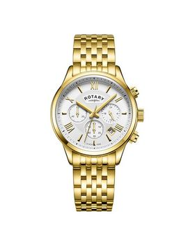 Rotary Men's Chronograph Gold Plated Bracelet Watch by Rotary