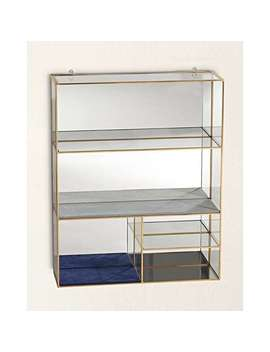 Gold & Glass Blue Velvet Hanging Jewellery Shelf Extra Large by Olivar Bonas