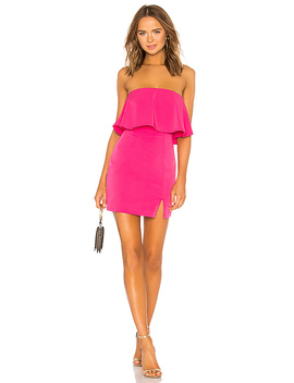 Catalina Ruffle Tube Mini Dress In Hot Pink by Superdown