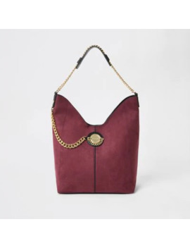 Dark Red Coin Chain Slouch Shoulder Bag by River Island