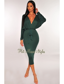 Emerald Kimono Sleeves Belted Dress by Hot Miami Style